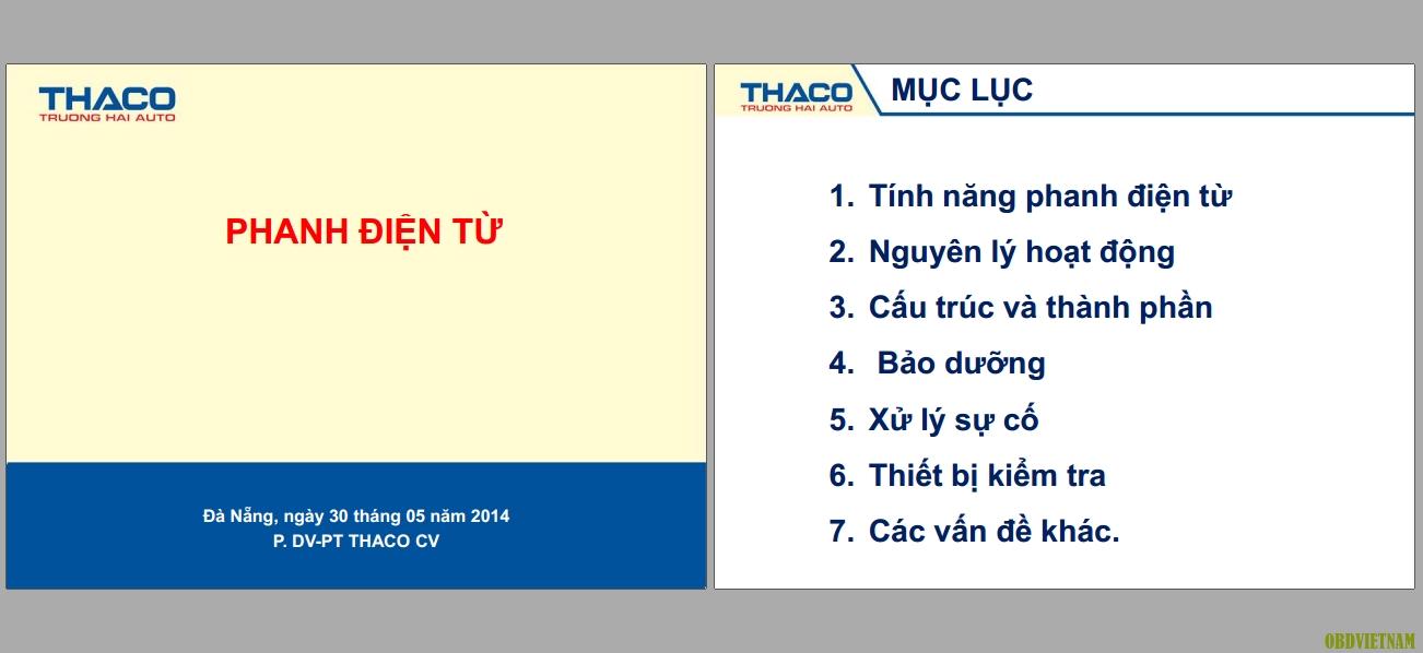 Tài liệu đào tạo Phanh điện tử miễn phí của THACO Trường Hải