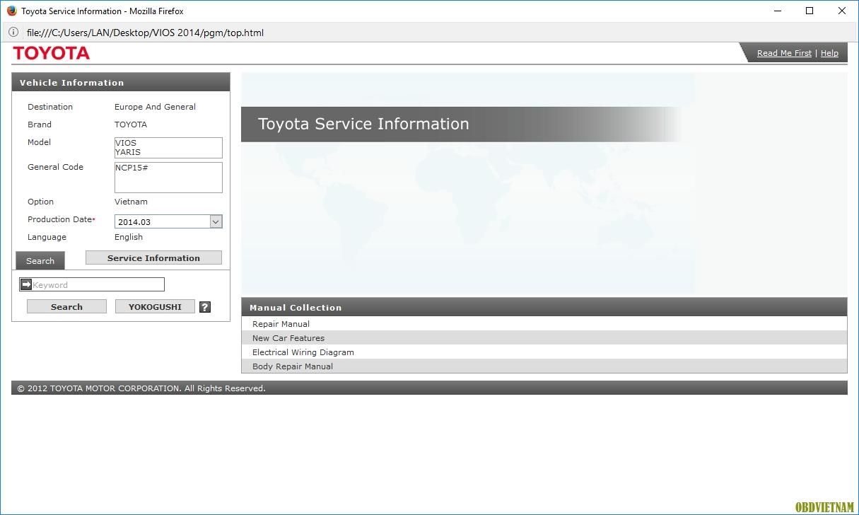 Tải tài liệu sửa chữa Toyota Vios 2015 miễn phí