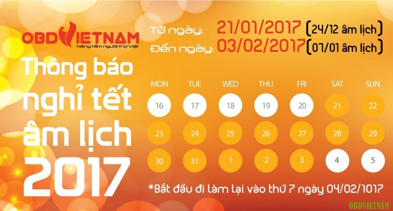 OBD Việt Nam thông báo nghỉ Tết Nguyên Đán Đinh Dậu 2017