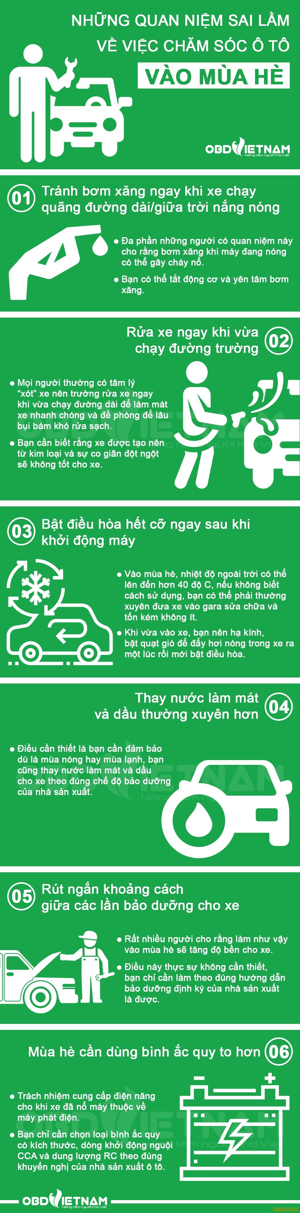 Infographic - Những Quan Niệm Sai Lầm Về Việc Chăm Sóc Ô Tô Vào Mùa Hè