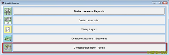 Component locations – Fascia phần mềm Autodata