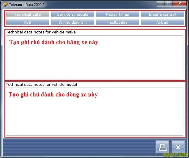 Cửa sổ notes trong Tolerance Data
