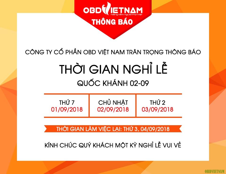 OBD Việt Nam Thông Báo Nghỉ Lễ Quốc Khánh 02/09