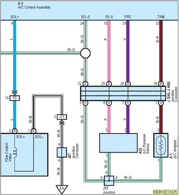 Sơ Đồ Mạch Điện Trong Mã Lỗi B1423 Xe Sienna V6 3.5L 2009