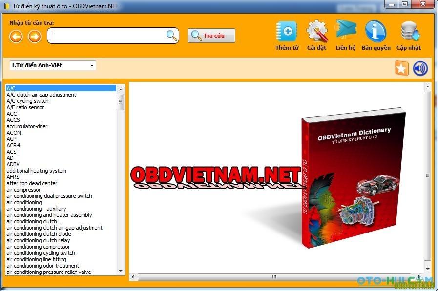 Phần mềm từ điển tra cứu kỹ thuật ô tô OBDVietnam Dictionary v1.01