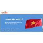OBD Việt Nam thông báo nghỉ lễ Giải phóng miền Nam và Quốc tế lao động 2016