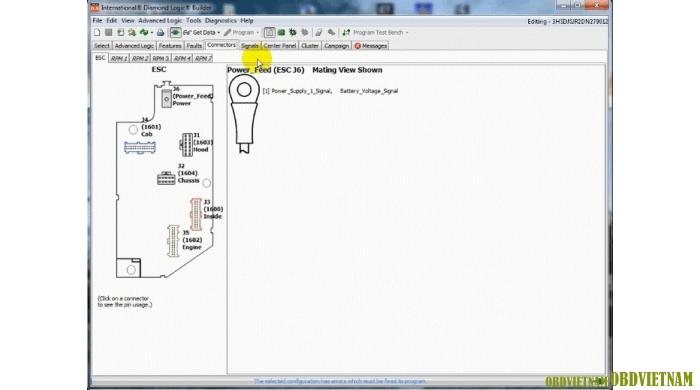 Connectiors – cho phép người dùng xem các mô-đun được lập trình cho xe đã chọn. Các tab phụ hiển thị các mô-đun có thể chọn xem.