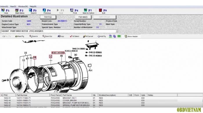 Phần mềm tra mã phụ tùng TOYOTA INDUSTRIAL EQUIQMENT