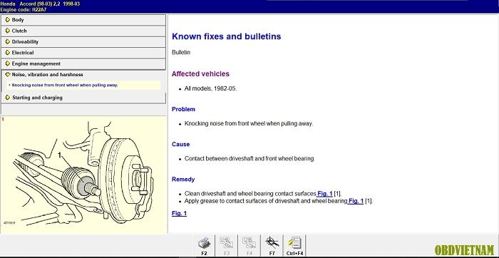 Tra cứu tiếng ồn, va đập trong Autodata