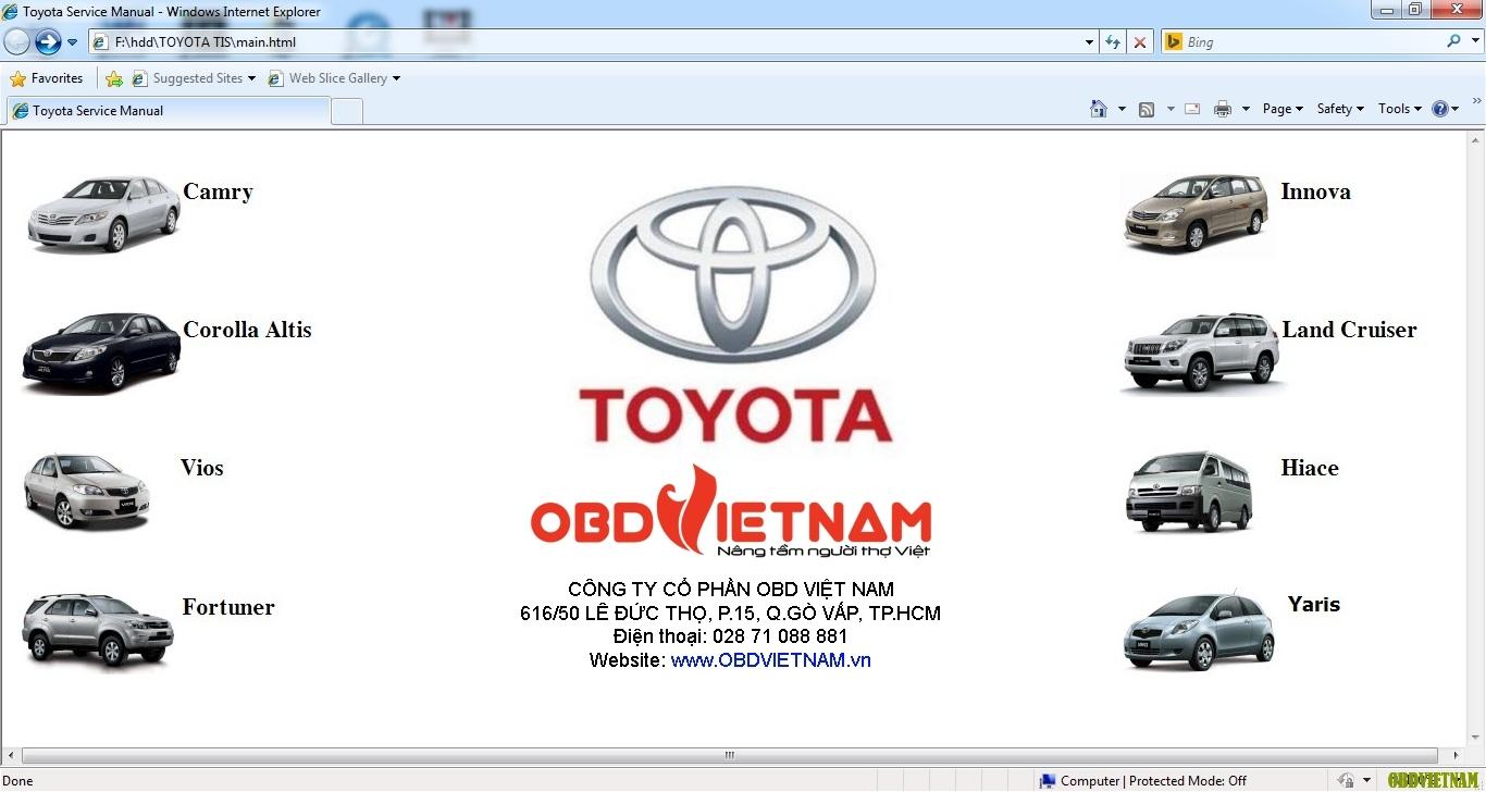 Phần mềm tra cứu Toyota TIS